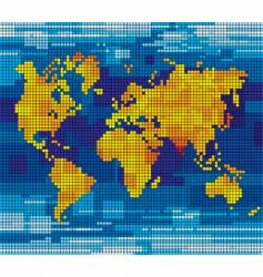 pixel world map vector image