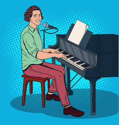 Pop art musician playing piano and singing vector
