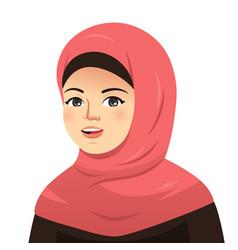 portrait of beautiful muslim woman vector image