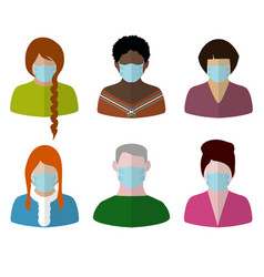 portraits in face mask vector image