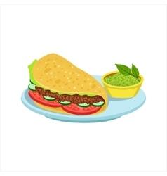 Quesadilla With Guacamole Traditional Mexican vector image