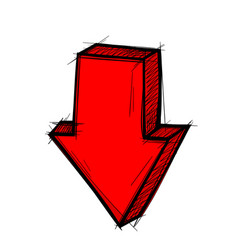 Red arrow down straight sign colored doodle vector