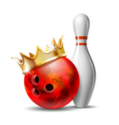red glossy bowling ball with golden crown vector image