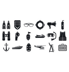 Rescue sea safety icons set simple style vector