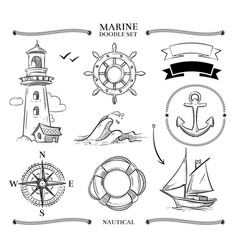 Rope frames boats marine knots anchors nautical vector