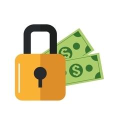 Safety lock and dollar bills icon vector