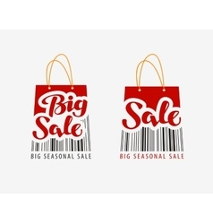 Sale Shopping bag with bar code vector image