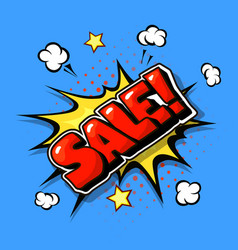 sale web banner pop art comic sale bang vector image