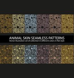 set dark natural animal skin seamless pattern vector image
