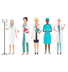 Set of female doctors in different poses woman vector
