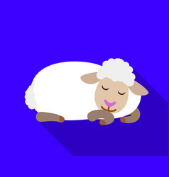 sleeping sheep icon flat style vector image