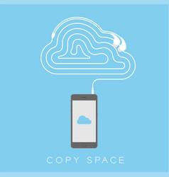 Smartphone black color flat design cloud icon vector