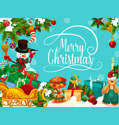 snowman and santa gift for christmas greeting card vector image