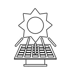 solar panel and sun clean energy related icon vector image