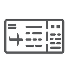 ticket line icon pass and tourism plane ticket vector image