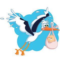 tired stork with baby flying cartoon vector image