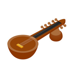 Traditional Indian sarod icon isometric 3d style vector