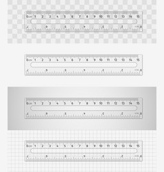 transparent plastic ruler 15 cm 7 inch vector image