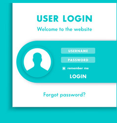 User login window login page design for website in vector