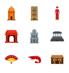 Vietnam building icon set flat style vector