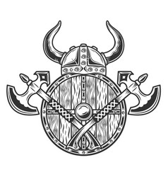 viking warrior helmet with two axes and shield vector image