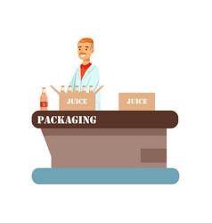 Worker packing bottles juice in boxes juice vector