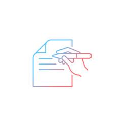 Written communication gradient linear icon vector
