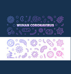 Wuhan coronavirus outline colored banners vector
