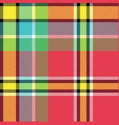 Yellow red green blue check fabric texture vector