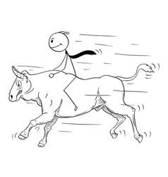 Cartoon of businessman riding a bull market vector