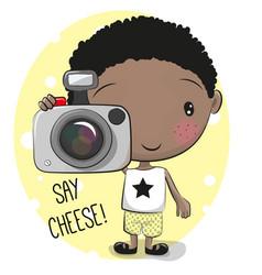 cute cartoon boyl with a camera vector image vector image