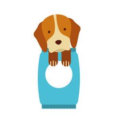 cute dog mascot with bag food vector image vector image