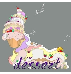 fantastic cakes with dessert vector image vector image