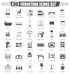 Furniture black icon set Dark grey classic vector image vector image