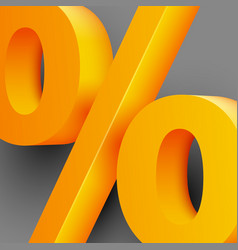 Golden percent sign on gray background vector