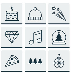 set of 9 celebration icons includes tree toy vector image vector image