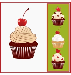 Set of appetizing cakes vector image vector image