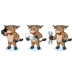 Buffalo cream mascot with phone vector