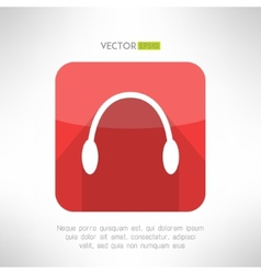 Headphones icon in modern flat design Audio music vector image vector image