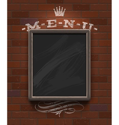Menu chalkboard with wooden frame on brick wall vector image vector image