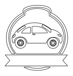 monochrome contour of sport car in heraldic round vector image