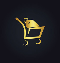 shopping cart sale gold logo vector image