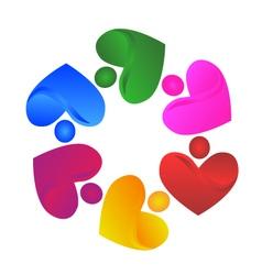 Teamwork handle hearts logo vector image vector image