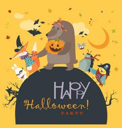 animals celebrating halloween vector image vector image