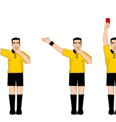 Collection of football referee gestures vector image vector image