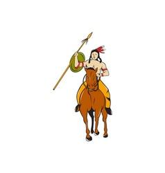 Native American Indian Brave Riding Pony Cartoon vector image