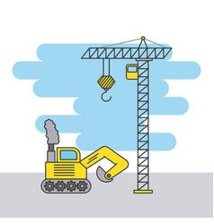 tower crane and bulldozer truck construction vector image