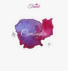 Travel around the world Cambodia Watercolor map vector image vector image