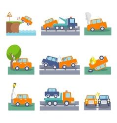 Car crash icons vector image vector image