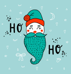 cartoon cute santa claus with lettering ho-ho vector image vector image
